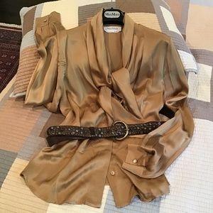 "MaxMara handmade leather belt 35""-39"" like new"